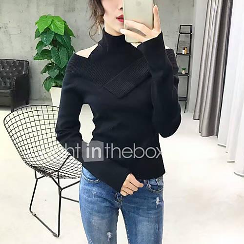 dames-uitgaan-casual-dagelijks-eenvoudig-normaal-pullover-effen-strakke-ronde-hals-lange-mouw-katoen-lente-herfst-medium-micro-elastisch