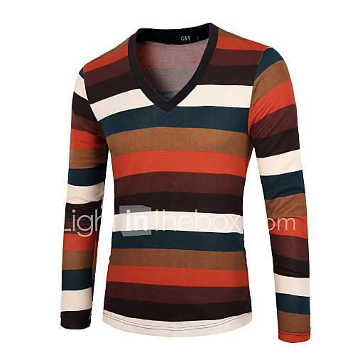 heren-uitgaan-casual-dagelijks-vakantie-kort-pullover-effen-gestreept-regenboog-v-hals-lange-mouw-katoen-acryl-herfst-winter-medium