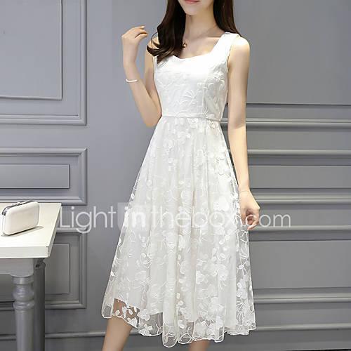 dames-uitgaan-casual-dagelijks-eenvoudig-chiffon-wijd-uitlopend-jurk-effen-jacquard-ronde-hals-midi-mouwloos-polyester-zomer-medium-taille