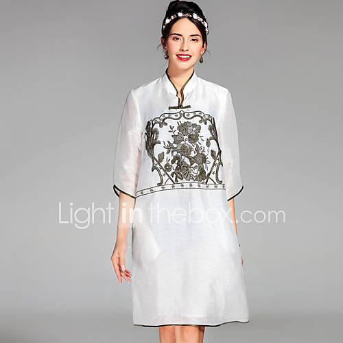 dames-casual-dagelijks-chinoiserie-ruimvallend-jurk-bloemen-opstaand-boven-de-knie-halflange-mouw-zijde-linnen-lente-zomer-medium-taille