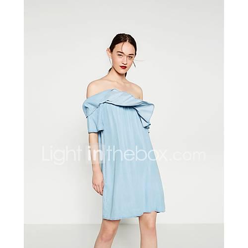 dames-casual-dagelijks-ruimvallend-jurk-effen-boothals-boven-de-knie-korte-mouw-katoen-lente-medium-taille-micro-elastisch-dun-medium