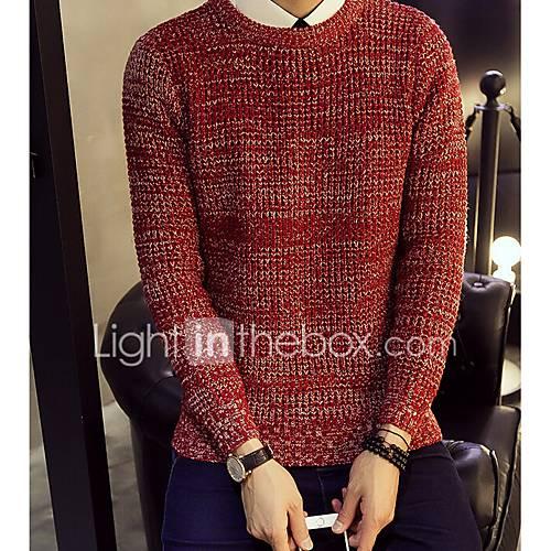 heren-casual-dagelijks-eenvoudig-normaal-pullover-patchwork-ronde-hals-lange-mouw-polyester-lente-herfst-medium-micro-elastisch