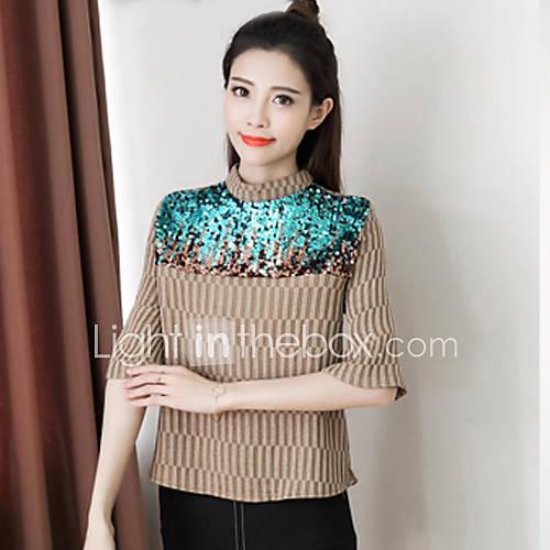 dames-schattig-street-chic-chinoiserie-alle-seizoenen-overhemd-uitgaan-casual-dagelijks-werk-effen-geborduurd-coltrui-korte-mouw-katoen