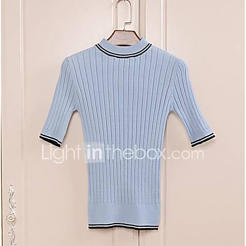 dames-uitgaan-casual-dagelijks-eenvoudig-normaal-pullover-effen-gestreept-ronde-hals-halflange-mouw-rayon-lente-herfst-medium