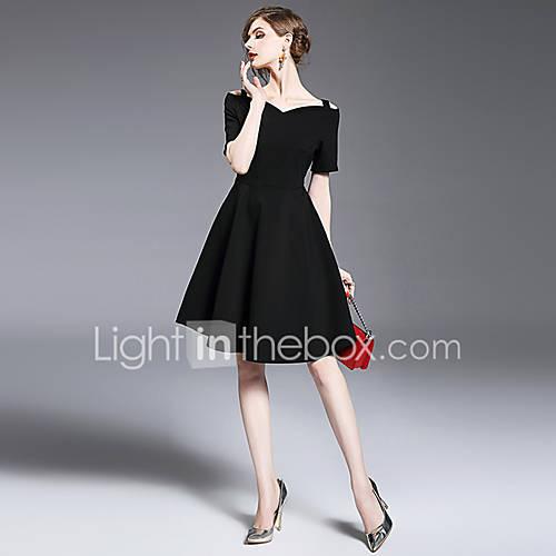 dames-uitgaan-casual-dagelijks-eenvoudig-schattig-a-lijn-jurk-effen-boothals-boven-de-knie-korte-mouw-polyester-lente-zomer-medium-taille