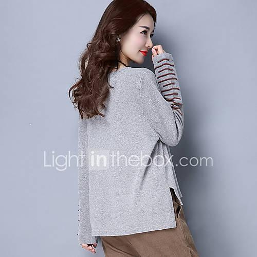 dames-uitgaan-casual-dagelijks-eenvoudig-normaal-pullover-effen-assymmetrisch-lange-mouw-wol-imitatiebont-lente-herfst-medium