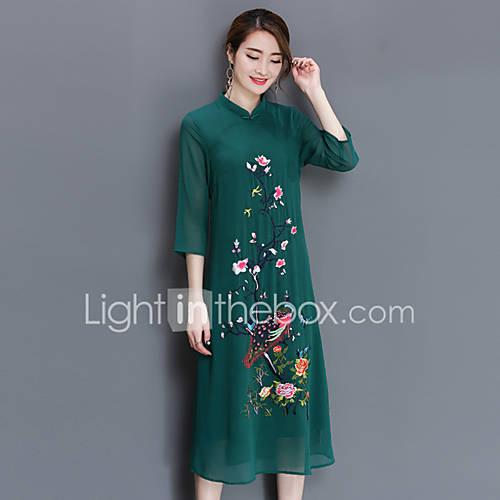 dames-uitgaan-grote-maten-eenvoudig-ruimvallend-jurk-geborduurd-opstaand-midi-halflange-mouw-polyester-zomer-herfst-medium-taille