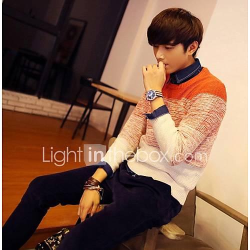 heren-uitgaan-casual-dagelijks-eenvoudig-normaal-pullover-kleurenblok-ronde-hals-lange-mouw-wol-katoen-herfst-winter-medium