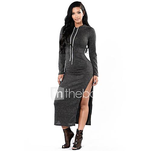 dames-casual-dagelijks-eenvoudig-recht-jurk-effen-capuchon-midi-lange-mouw-polyester-spandex-herfst-hoge-taille-micro-elastisch-medium