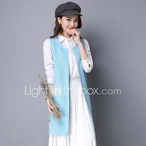 dames-uitgaan-casual-dagelijks-vintage-eenvoudig-verfijnd-lang-vest-effen-ronde-hals-mouwloos-rayon-lente-herfst-medium-micro-elastisch