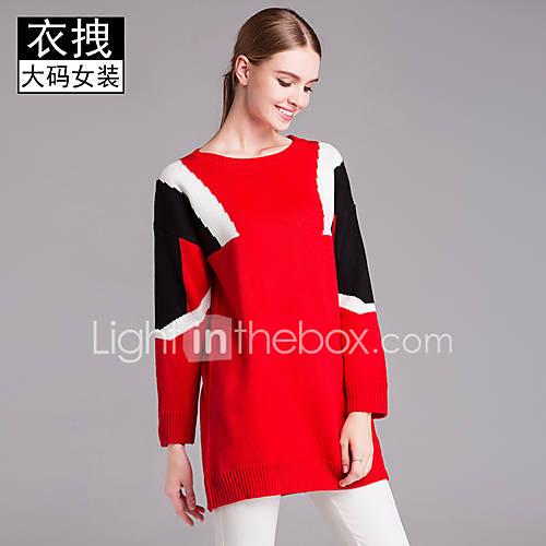 dames-casual-dagelijks-eenvoudig-street-chic-lang-pullover-kleurenblok-ronde-hals-lange-mouw-acryl-lente-herfst-medium-micro-elastisch