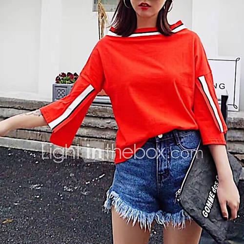 dames-eenvoudig-schattig-street-chic-alle-seizoenen-t-shirt-uitgaan-casual-dagelijks-effen-boothals-lange-mouw-katoen-medium