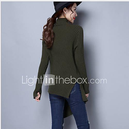 dames-uitgaan-casual-dagelijks-eenvoudig-street-chic-normaal-pullover-effen-coltrui-lange-mouw-wol-winter-dik-micro-elastisch
