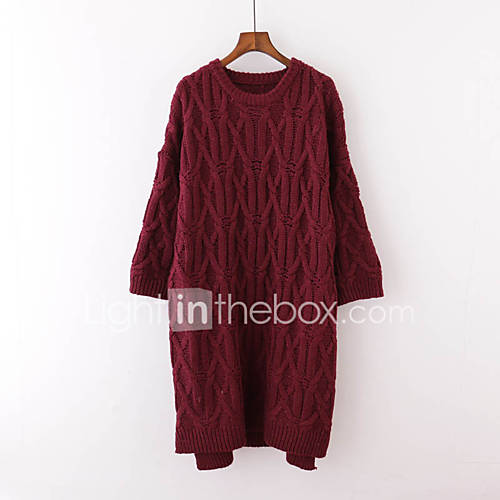 dames-uitgaan-casual-dagelijks-normaal-pullover-effen-ronde-hals-lange-mouw-imitatiebont-rayon-lente-herfst-medium-micro-elastisch