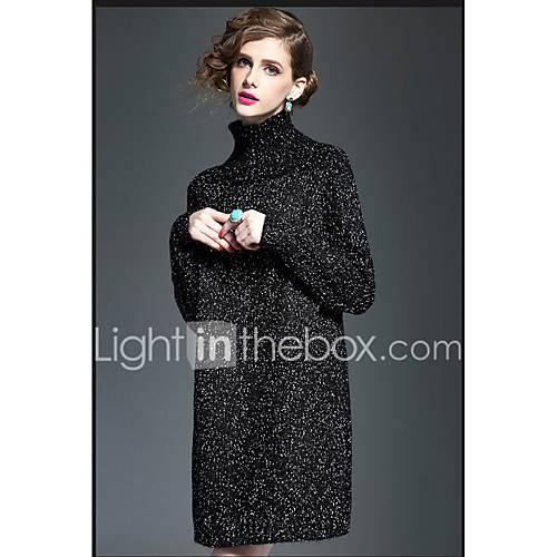 dames-casual-dagelijks-sexy-vintage-breigoed-jurk-effen-coltrui-boven-de-knie-halflange-mouw-acryl-winter-medium-taille-micro-elastisch