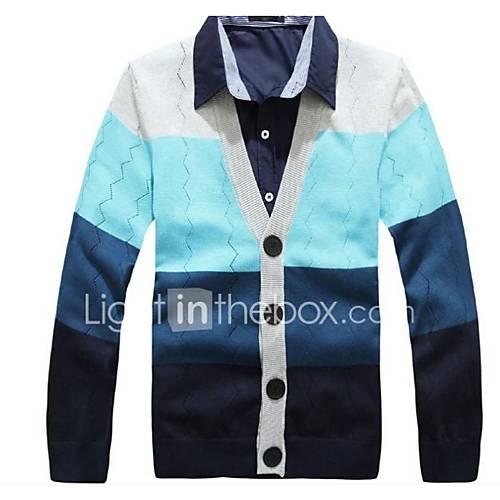 heren-uitgaan-casual-dagelijks-eenvoudig-normaal-vest-gestreept-kleurenblok-diepe-v-hals-lange-mouw-wol-polyester-lente-herfst-medium