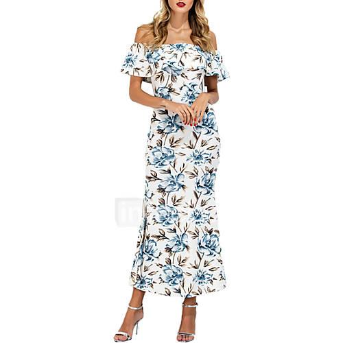 Mujer Vaina Vestido Noche Casual/Diario Simple,Un Color Estampado Hombros Caídos Maxi Sin Mangas Poliéster Para Todas las TemporadasTiro