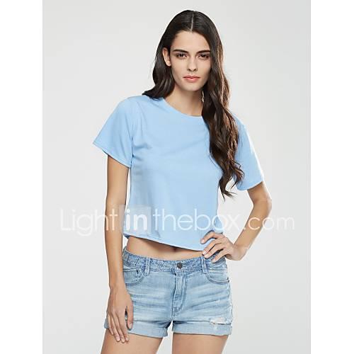 vrouwen-sexy-zomer-t-shirt-casual-dagelijks-effen-print-ronde-hals-korte-mouw-blauw-katoen-ondoorzichtig