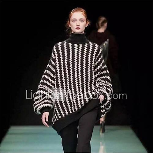 dames-casual-dagelijks-normaal-pullover-kleurenblok-coltrui-lange-mouw-wol-herfst-winter-medium-micro-elastisch
