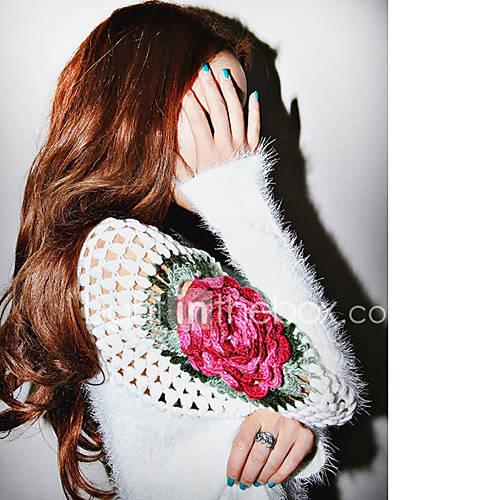 dames-uitgaan-casual-dagelijks-eenvoudig-normaal-pullover-effen-geborduurd-v-hals-lange-mouw-imitatiebont-rayon-polyester-lente-herfst