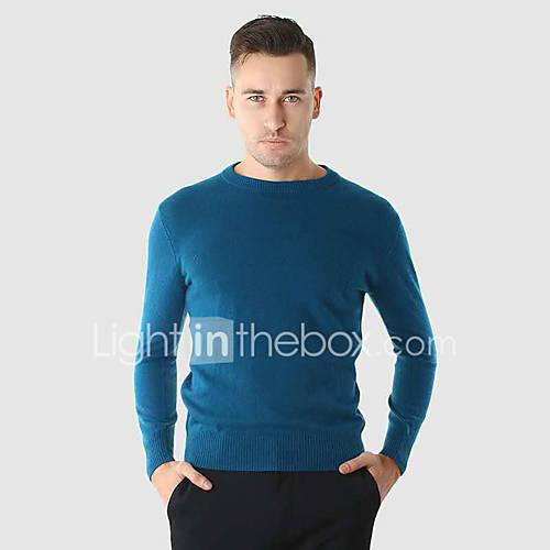heren-casual-dagelijks-eenvoudig-normaal-pullover-effen-ronde-hals-lange-mouw-wol-winter-medium-rekbaar