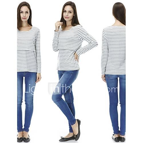 dames-actief-eenvoudig-casual-dagelijks-sportief-sweatshirt-effen-ronde-hals-rekbaar-katoen-lange-mouw-lente-herfst