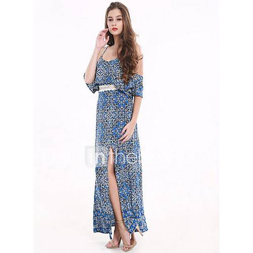 dames-uitgaan-casual-dagelijks-eenvoudig-recht-wijd-uitlopend-jurk-bloemen-diepe-v-hals-maxi-mini-mouwloos-polyester-zomer-medium-taille