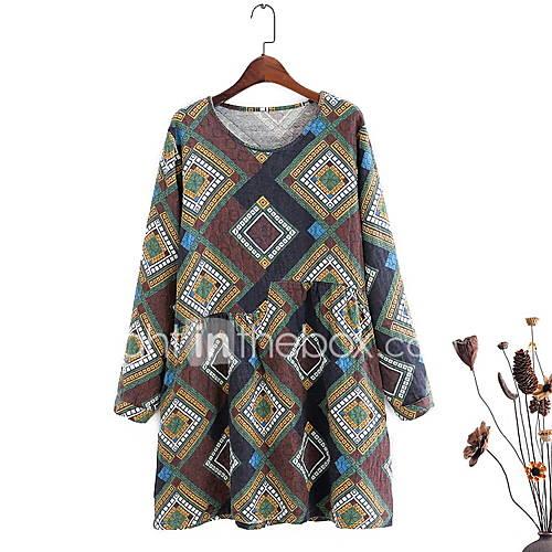 dames-casual-dagelijks-eenvoudig-ruimvallend-jurk-geometrisch-ronde-hals-boven-de-knie-lange-mouw-katoen-alle-seizoenen-medium-taille