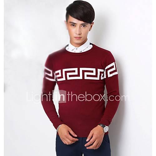 heren-uitgaan-casual-dagelijks-eenvoudig-normaal-pullover-print-ronde-hals-lange-mouw-katoen-herfst-winter-medium-micro-elastisch