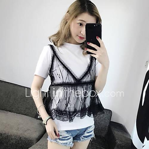 dames-eenvoudig-schattig-street-chic-zomer-t-shirt-casual-dagelijks-effen-ronde-hals-korte-mouw-katoen-medium