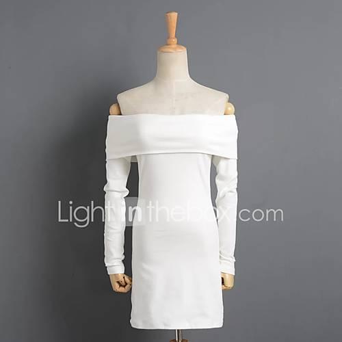 dames-casual-dagelijks-ruimvallend-jurk-effen-boothals-boven-de-knie-lange-mouw-katoen-lente-medium-taille-micro-elastisch-medium