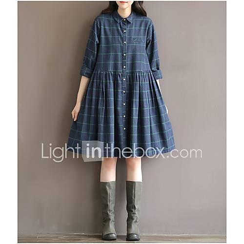 dames-casual-dagelijks-eenvoudig-skater-jurk-print-overhemdkraag-tot-de-knie-halflange-mouw-katoen-lente-zomer-hoge-taille-micro-elastisch