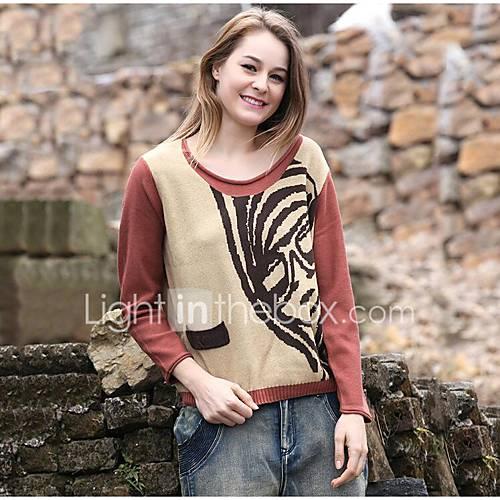 dames-uitgaan-casual-dagelijks-eenvoudig-normaal-pullover-effen-print-ronde-hals-lange-mouw-katoen-lente-herfst-medium-micro-elastisch