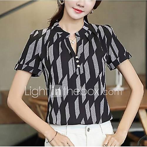 dames-eenvoudig-schattig-alle-seizoenen-lente-blouse-casual-dagelijks-print-v-hals-korte-mouw-polyester-medium