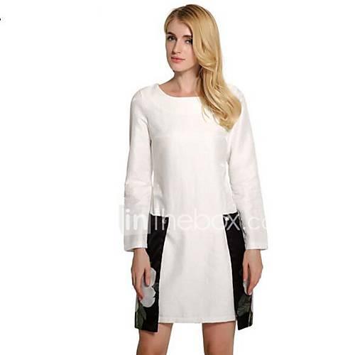 dames-uitgaan-casual-dagelijks-eenvoudig-wijd-uitlopend-jurk-bloemen-patchwork-ronde-hals-mini-lange-mouw-polyester-lente-zomer-medium