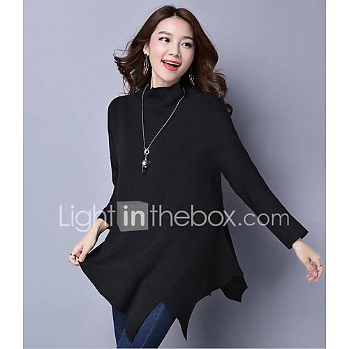 dames-uitgaan-casual-dagelijks-eenvoudig-normaal-pullover-effen-strakke-ronde-hals-lange-mouw-wol-polyester-lente-herfst-medium