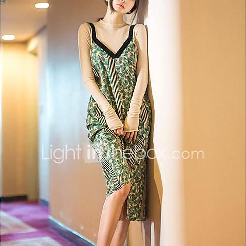 dames-casual-dagelijks-eenvoudig-schede-jurk-print-v-hals-midi-mouwloos-nylon-lente-zomer-medium-taille-inelastisch-medium