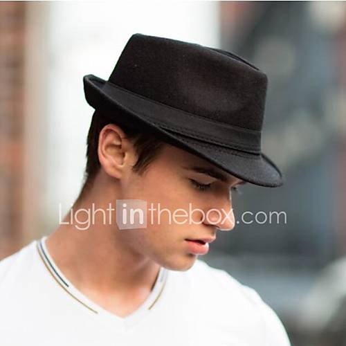 Men Woolen Jazz Hat Fedora ...