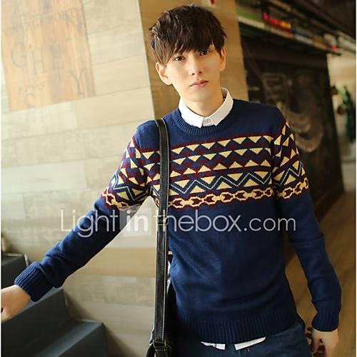 heren-uitgaan-casual-dagelijks-eenvoudig-normaal-pullover-print-ronde-hals-lange-mouw-wol-herfst-winter-dik-micro-elastisch
