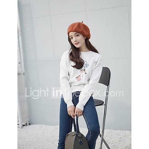 dames-uitgaan-casual-dagelijks-eenvoudig-normaal-pullover-effen-print-ronde-hals-lange-mouw-katoen-polyester-lente-herfst-medium