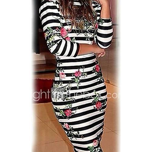 Mujer Corte Bodycon Vestido Casual/Diario Fiesta/CóctelA Rayas Escote Redondo Sobre la rodilla 3/4 Manga Algodón Verano Tiro Medio