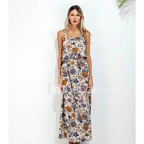 dames-casual-dagelijks-strand-boho-street-chic-ruimvallend-jurk-bloemen-bandje-maxi-mouwloos-rayon-lente-zomer-medium-taille