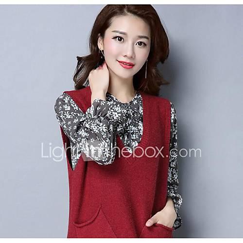 dames-uitgaan-casual-dagelijks-eenvoudig-lang-pullover-effen-v-hals-lange-mouw-rayon-polyester-lente-herfst-medium-inelastisch