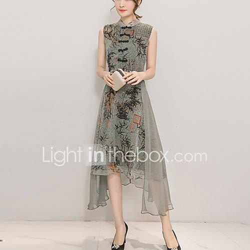 Mujer Línea A Vestido Noche Tallas Grandes Simple,Estampado Escote Chino Midi Sin Mangas Poliéster Verano Otoño Tiro Medio Rígido Medio