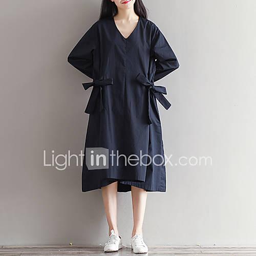 dames-casual-dagelijks-eenvoudig-ruimvallend-jurk-effen-v-hals-midi-lange-mouw-katoen-alle-seizoenen-medium-taille-micro-elastisch-medium