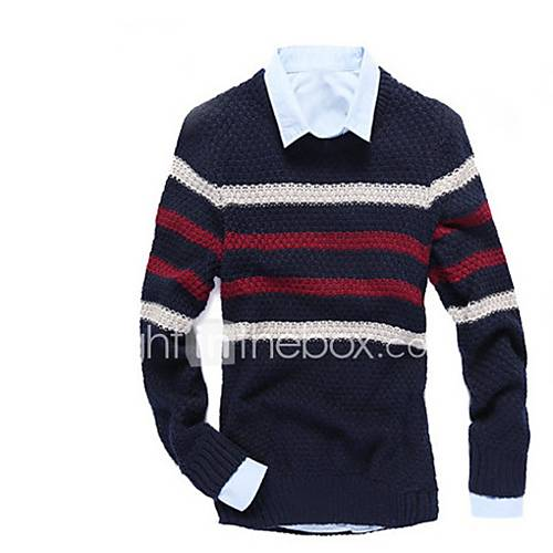 heren-uitgaan-casual-dagelijks-eenvoudig-normaal-pullover-effen-gestreept-kleurenblok-ronde-hals-lange-mouw-wol-herfst-winter-medium