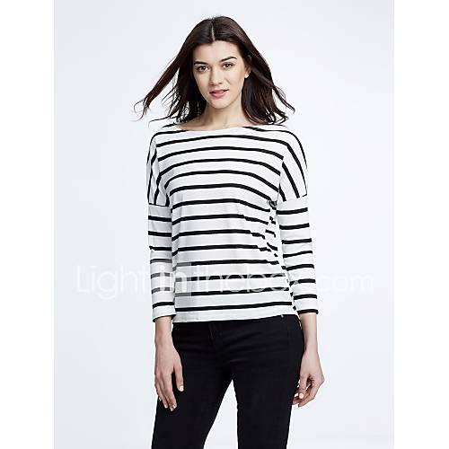 vrouwen-eenvoudig-lente-t-shirt-casual-dagelijks-gestreept-ronde-hals-lange-mouw-wit-katoen-medium