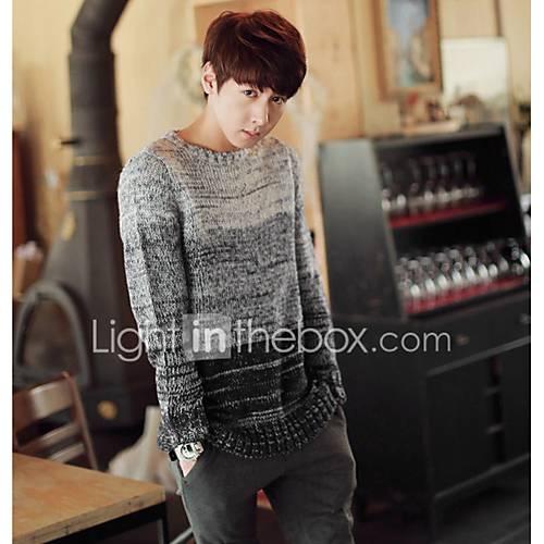 heren-uitgaan-casual-dagelijks-eenvoudig-normaal-pullover-kleurenblok-ronde-hals-lange-mouw-wol-katoen-herfst-winter-dik-micro-elastisch