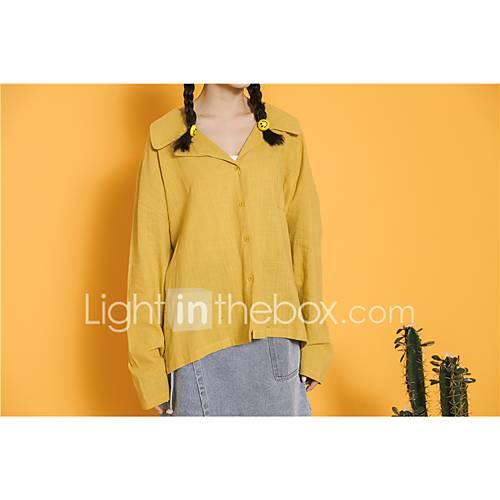 dames-vintage-eenvoudig-lente-herfst-overhemd-uitgaan-casual-dagelijks-effen-overhemdkraag-lange-mouw-katoen-medium