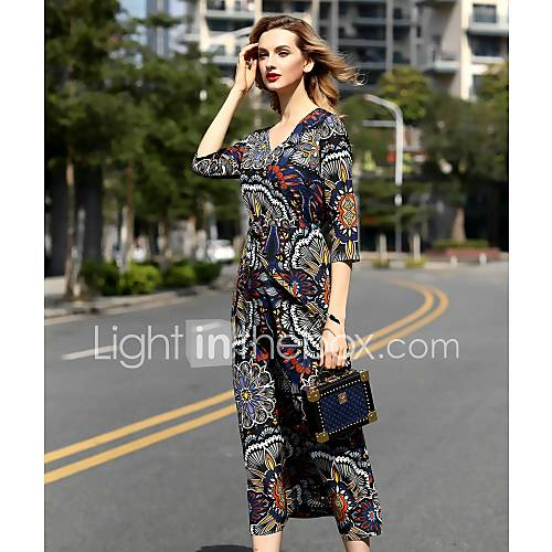 dames-casual-dagelijks-eenvoudig-schede-jurk-print-v-hals-midi-halflange-mouw-overige-lente-zomer-medium-taille-inelastisch-medium